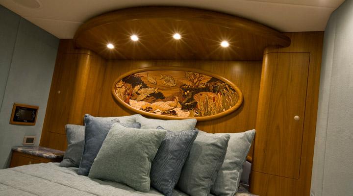 teak in yacht bedroom