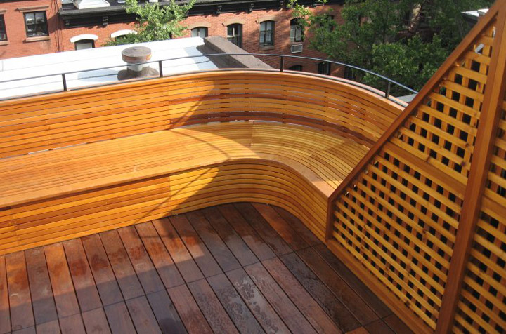 curved ipe bench deck