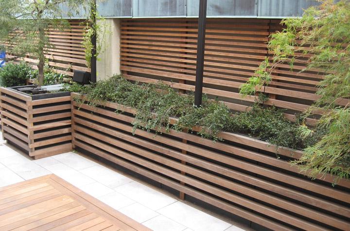 ipe recessed deck fence