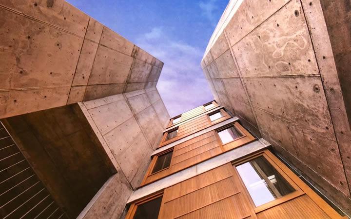 salk institute with concrete and teak wood restored