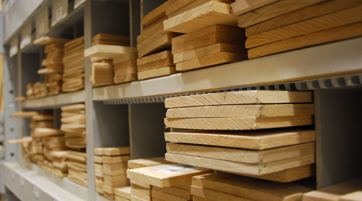 wood boards on store shelves